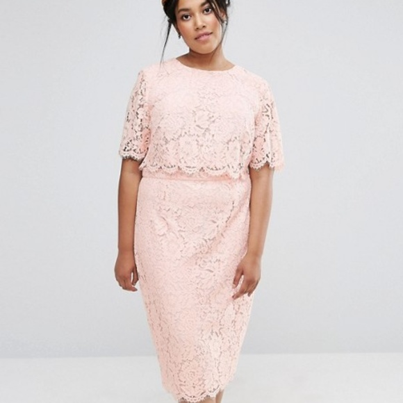 65cfc7b89e720 ... ASOS Curve Dresses Lace Crop Top Midi Pencil Dress Plus Poshmark